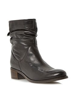 Pager ruched block heel ankle boots