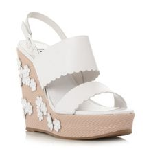 Dune Kensington applique flower wedge sandals