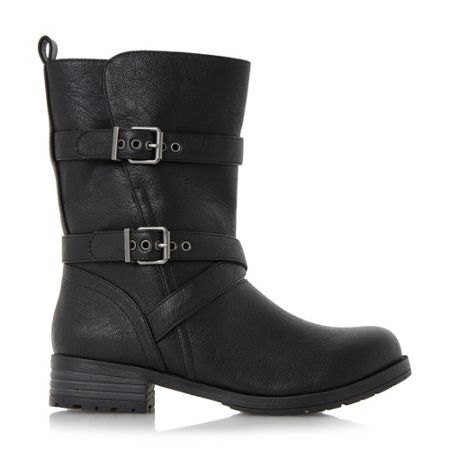 Head Over Heels Raquel fur trim biker boots