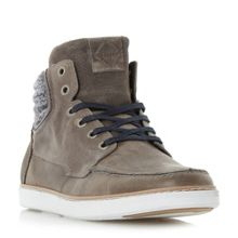 Dune Scamp fabric collar high top trainers