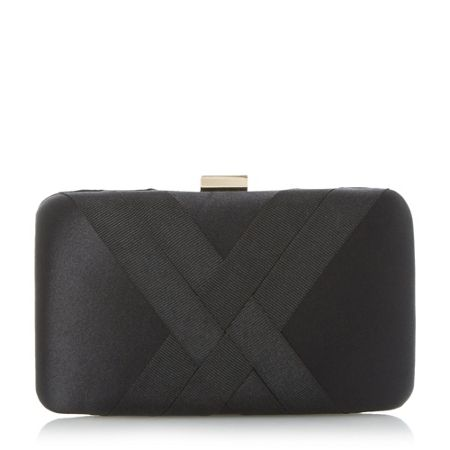 Dune Bournie grosgrain hard case clutch bag