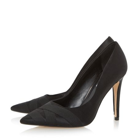 Dune Archivve satin pointed toe court shoes