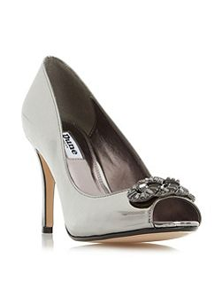 Dolley jewel trim peep toe court shoes