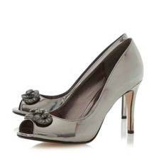 Dune Dolley jewel trim peep toe court shoes
