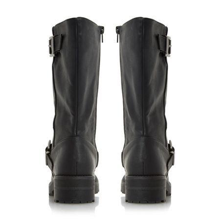 Head Over Heels Ria buckle detail calf biker boots