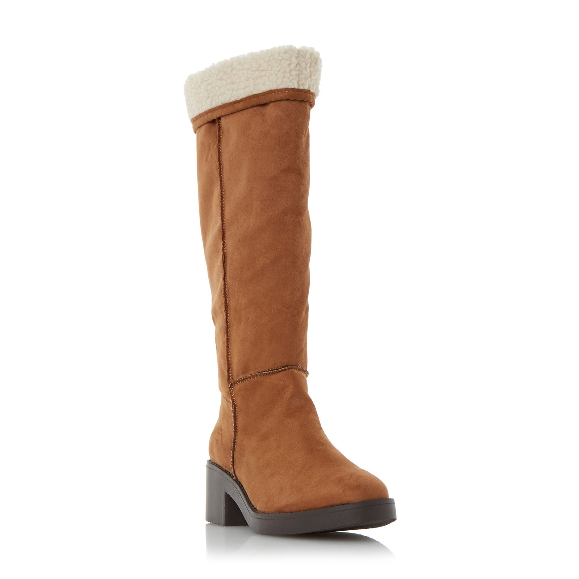 Head Over Heels Tandra shearling lined knee high boots Tan