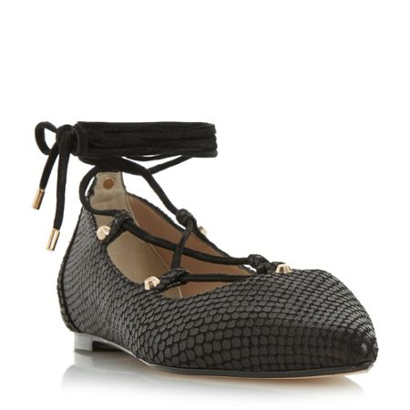 Dune Hasel ghillie stud ballerina shoes