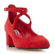 Dune Ani cross strap block heel courts