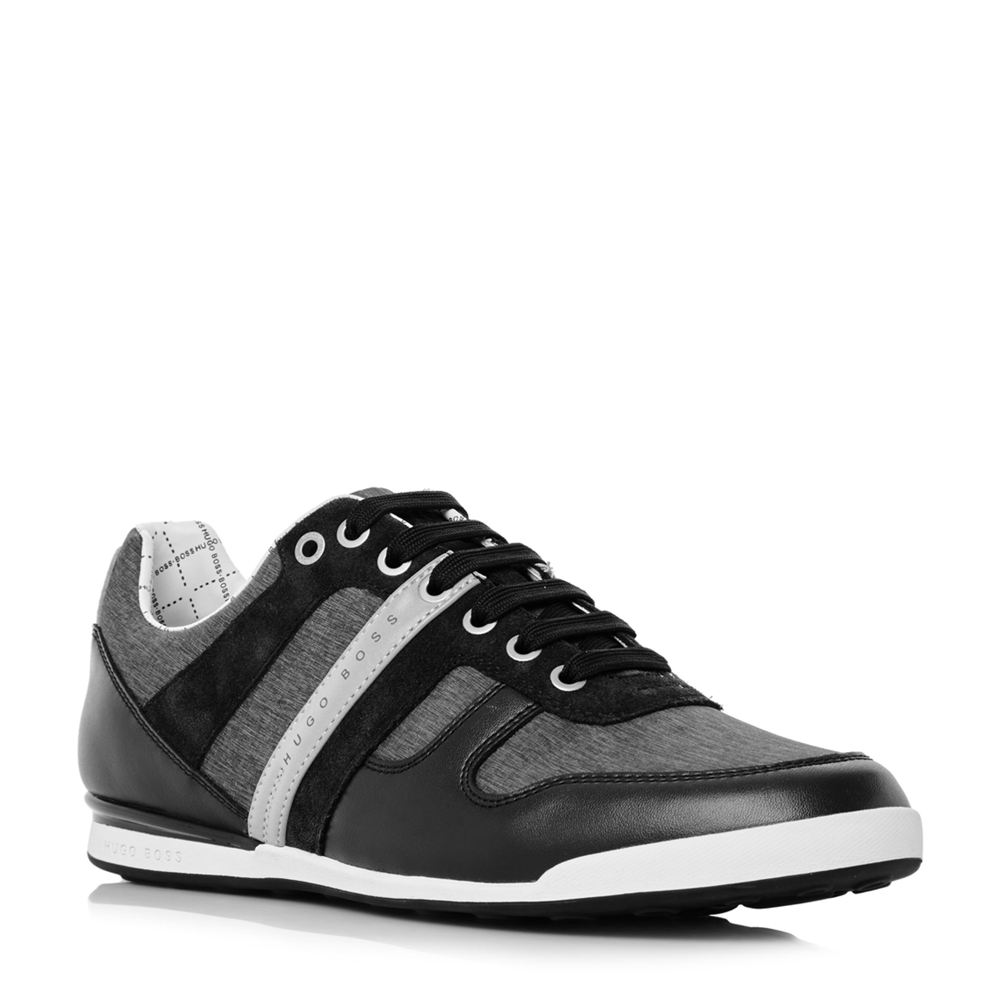 Hugo Boss Arkansas low chambray leather trainers Black
