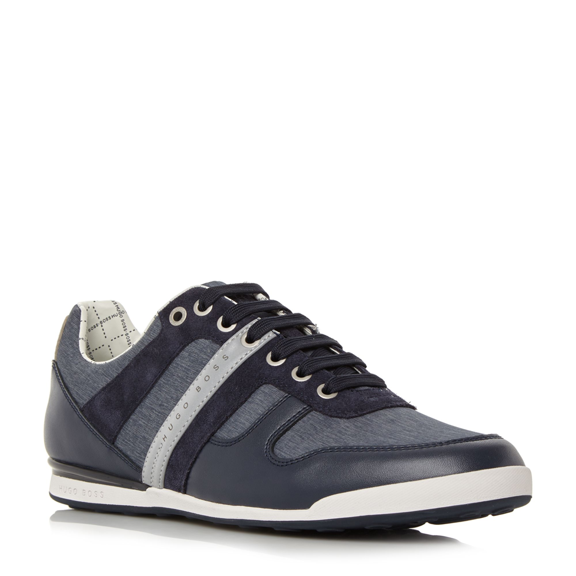 Hugo Boss Arkansas low chambray leather trainers Navy