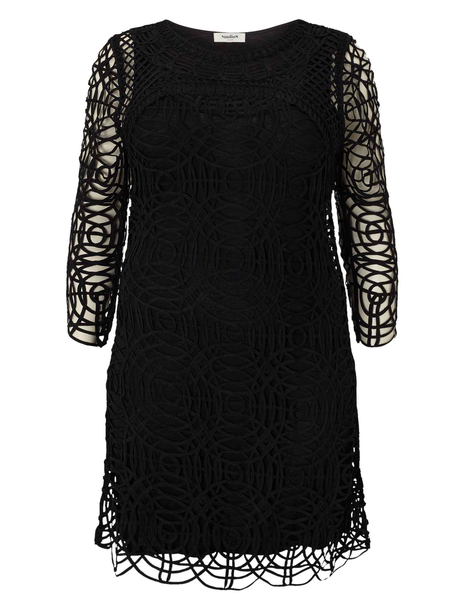 Studio 8 Plus Size Martina tapework dress, Black