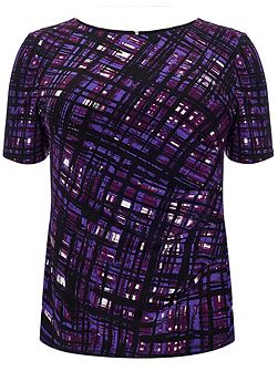 Plus Size Tamsin painted grid top
