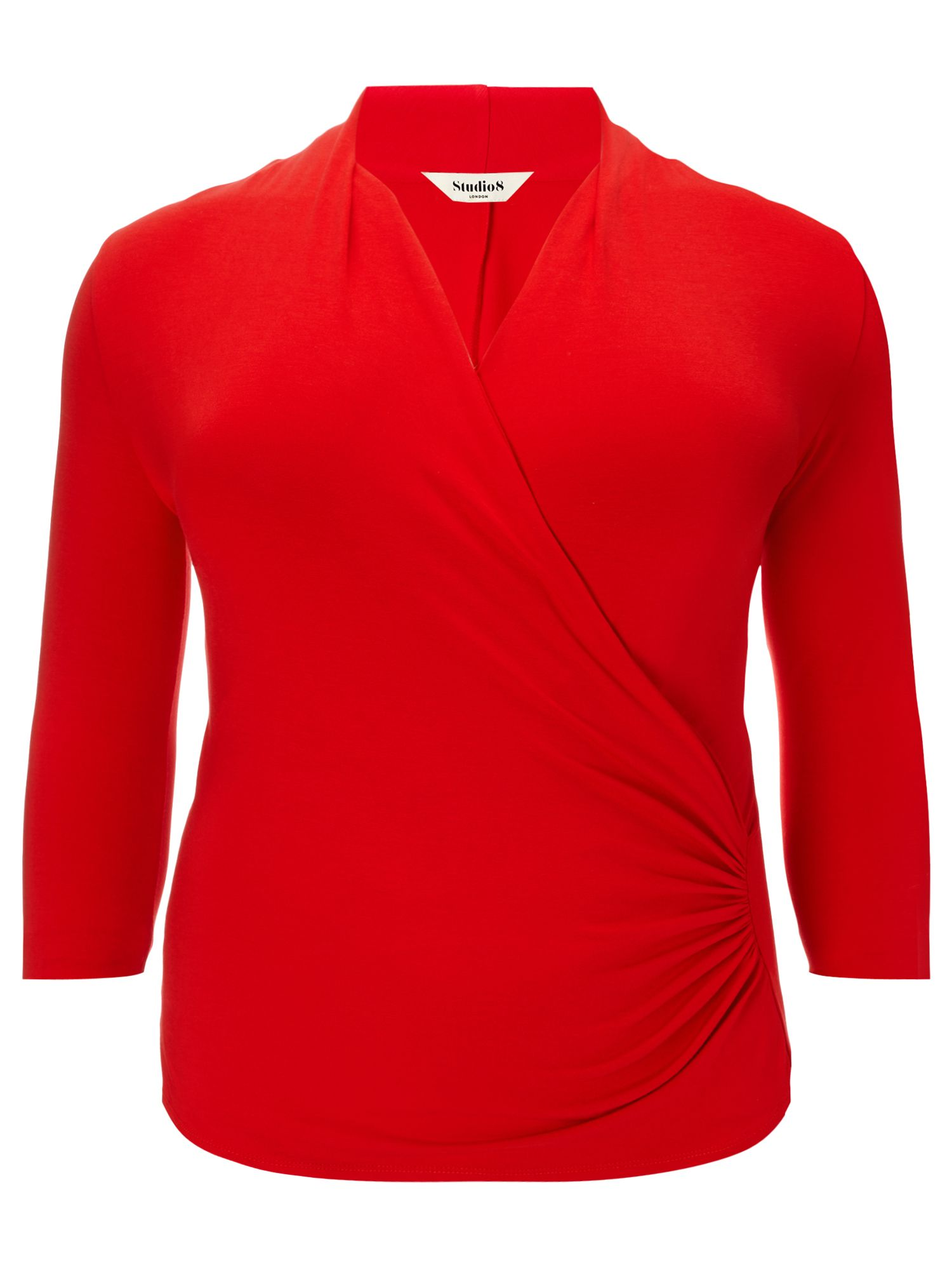 Studio 8 Plus Size Agatha ruched jersey top, Red