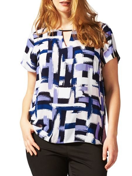 Studio 8 Plus Size Diane brush stroke blouse