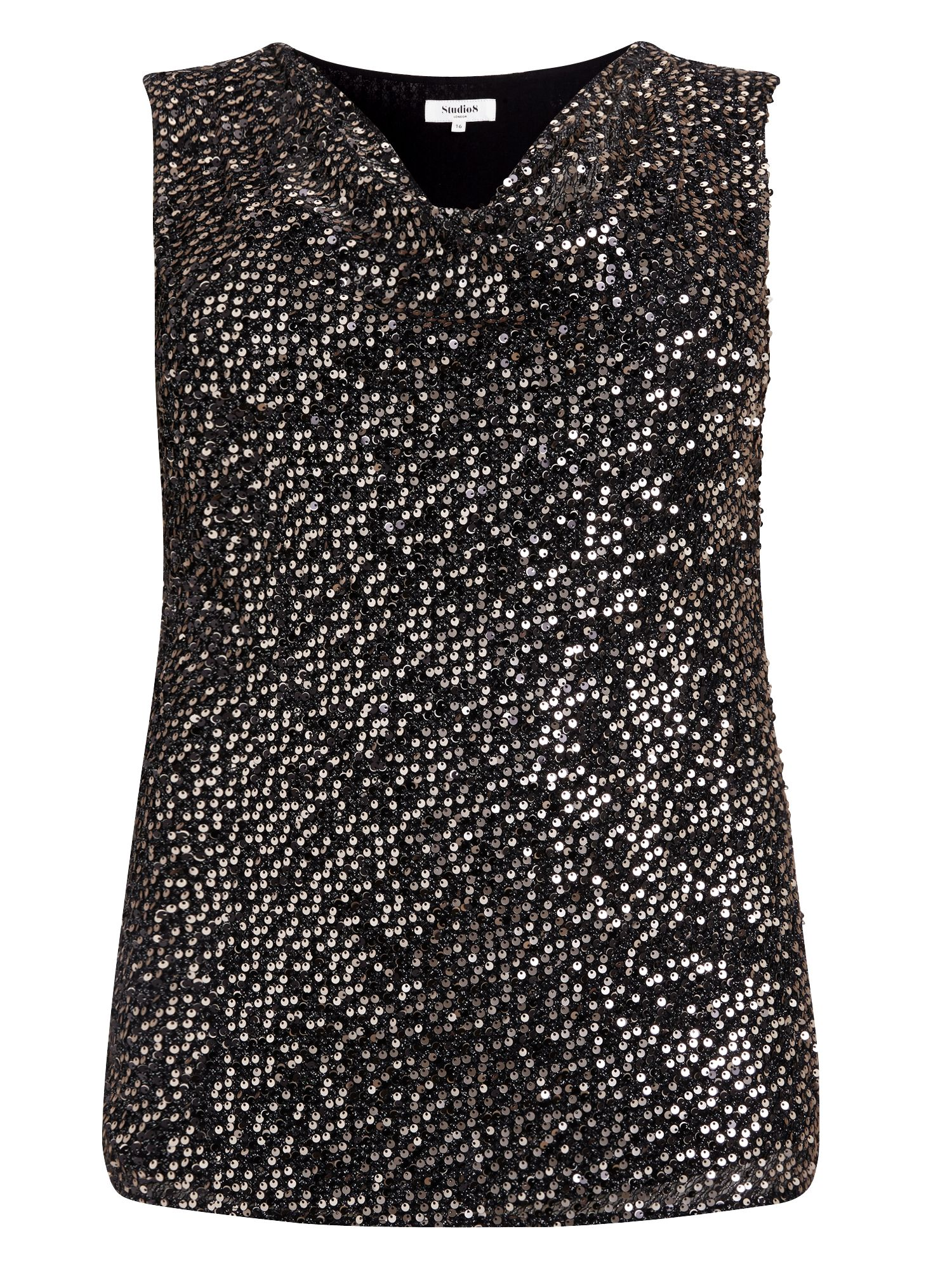 Studio 8 Tyra sequin top, Gold Silverlic