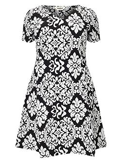 Anna contrast jacquard dress
