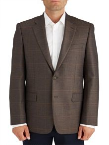 Paul Costelloe Modern Fit Brown Check Jacket