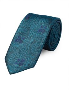 Teal Paisley Houndstooth Tie