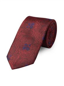 Red Paisley Houndstooth Tie