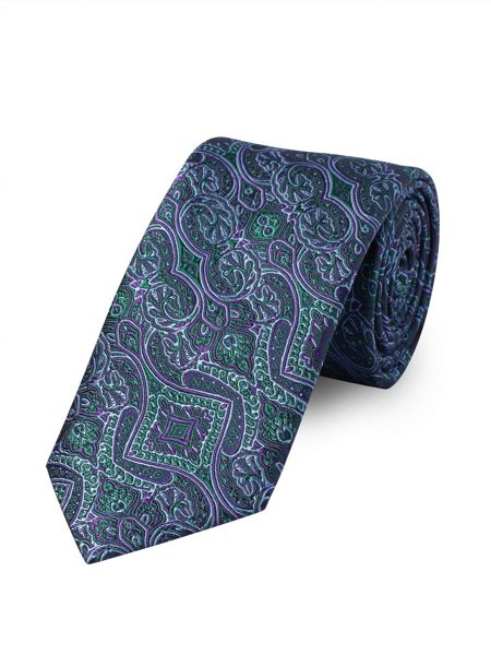 Baumler Purple Ornate Tapestry Tie