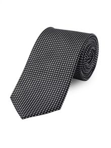 Black Semi-Plain Micro Motif Tie