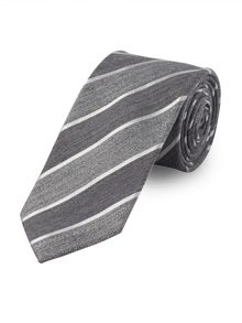 Baumler Grey Textured Tonal Stripe Tie