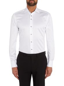 Baumler Tailored white twill double cuff shirt