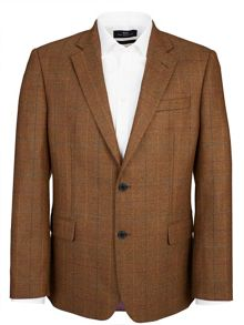 Paul Costelloe Modern Brown and Orange Check Jacket