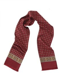 Red  Medallion Print Silk Scarf