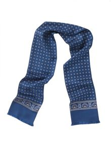 Blue Medallion Print Silk Scarf