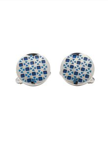 Blue Enamel Geometric Circles Cufflinks