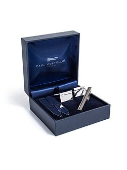 Rhodium & black enamel gift set