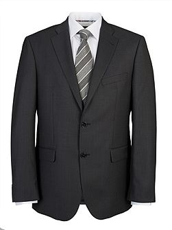 Grey semi-plain single suit jacket