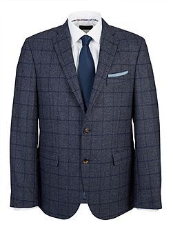 Tailored Blue Windowpane Check Jacket