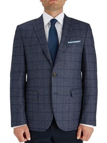 Baumler Tailored Blue Windowpane Check Jacket