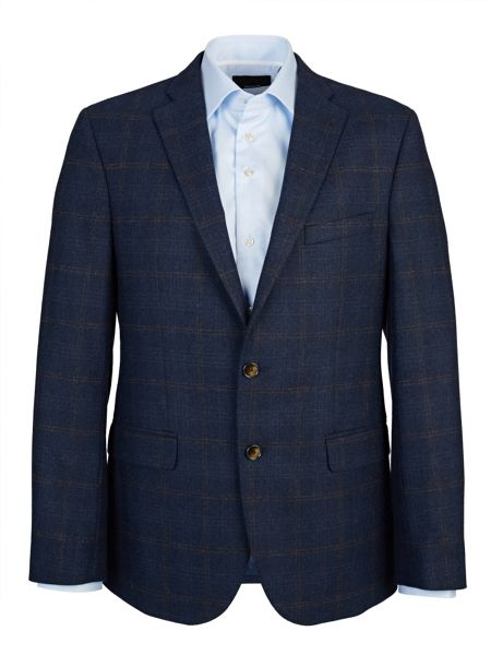 Baumler Tailored Navy and Brown Overcheck Jacket