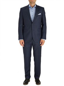 Blue Semi-Plain Single Breasted Suit