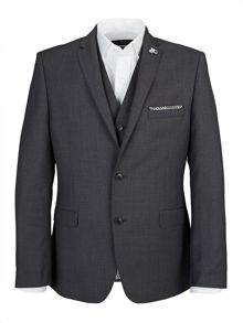 Slim Textured Grey Three Piece Suit