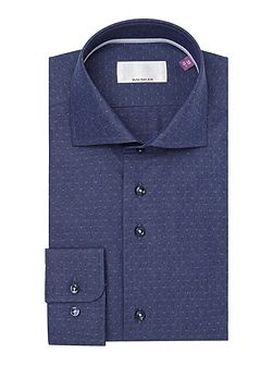 Blue diamond jacquard single cuff shirt