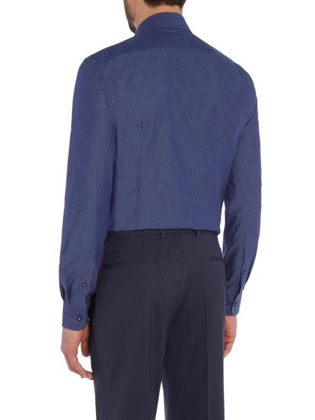 Baumler Blue diamond jacquard single cuff shirt