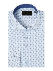 Baumler White circle print single cuff shirt