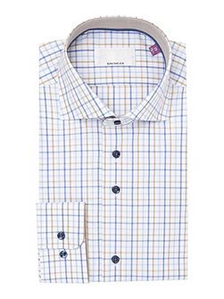 Blue check single cuff shirt