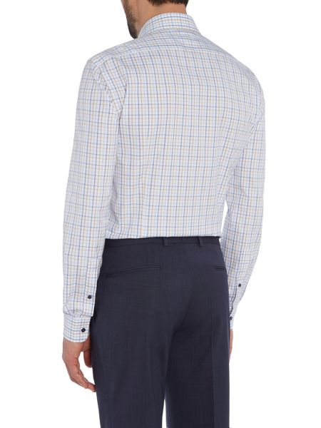 Baumler Blue check single cuff shirt