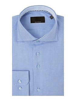 Blue houndstooth single cuff shirt