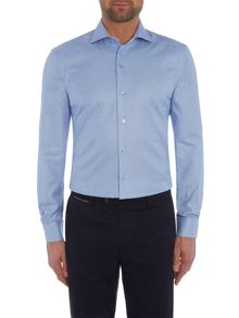 Baumler Blue houndstooth single cuff shirt