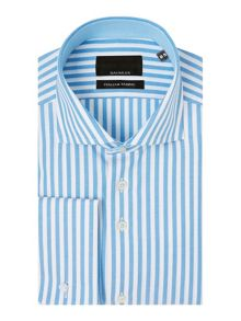 Baumler Blue bengal stripe double cuff shirt