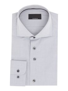 Baumler Grey semi plain dobby single cuff shirt