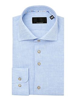 Blue linen single cuff shirt