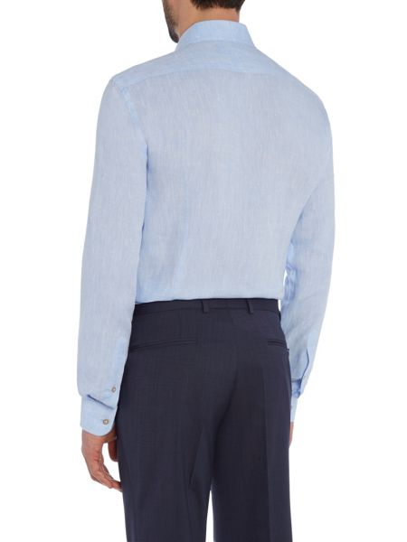 Baumler Blue linen single cuff shirt