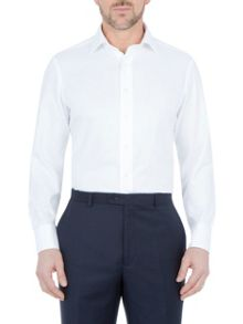 Paul Costelloe Modern fit white twill double cuff shirt